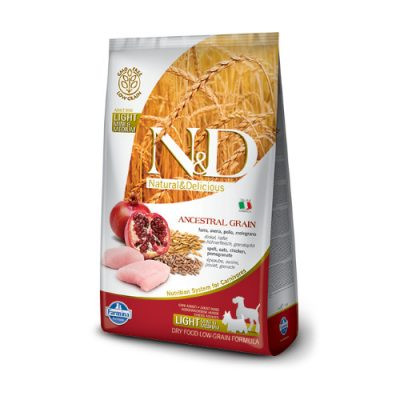 N&D Low Grain Chicken & Pomegranate light Mini & Medium 2.5 kg