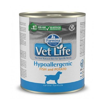 VET LIFE Hypoallergenic Fish and Potato Wet Food Canine 300gr (6 τεμάχια)