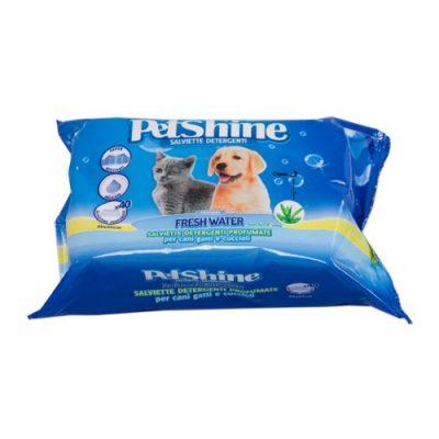 Petshine Υγρά Μαντηλάκια Καθαρισμού Fresh Water (40 Φυλλα)
