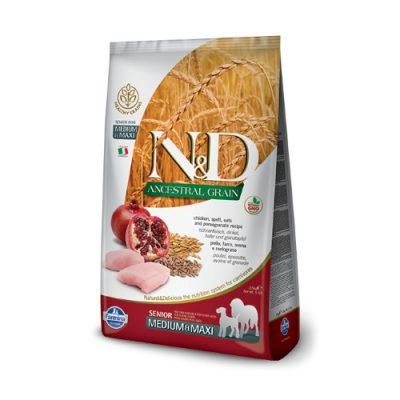 N&D Low Grain Chicken & Pomegrade senior med/maxi 12kg