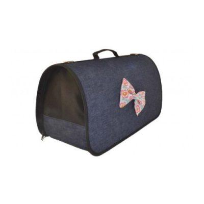 Τσάντα μεταφοράς σκληρού τύπου τζιν με φλοράλ φιόγκο 30x16x25