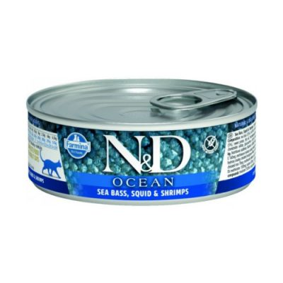 N&D Ocean Cat Wet Sea Bass & Souid 80gr (12τεμαχια)