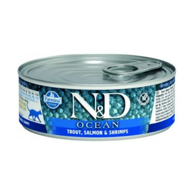 N&D Ocean Cat Wet Trout & Salmon 80gr (12τεμαχια)