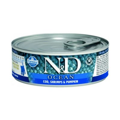 N&D Ocean Kitten Wet Codfish & Shrimps 80gr (12τεμαχια)