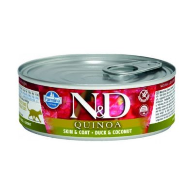 N&D Quinoa Cat Wet Skin & Coat Duck 80gr (12τεμαχια)