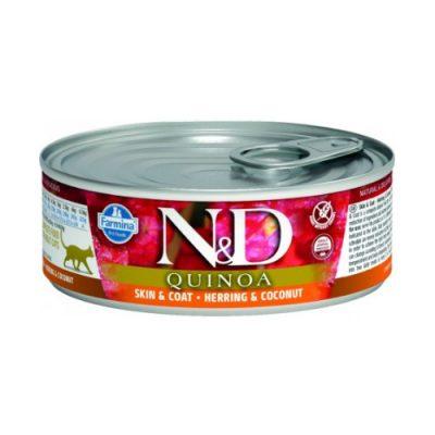 N&D Quinoa Cat Wet Skin & Coat Herring 80gr (12τεμαχια)