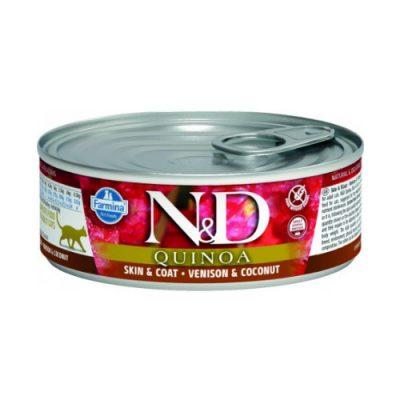 N&D Quinoa Cat Wet Skin & Coat Venision 80gr (12τεμαχια)