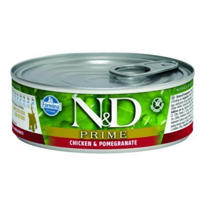 n&d PRIME WET CHICKEN & POMEGARNATE KITTEN 80GR (12τεμαχια)
